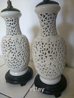 MID Century Porcelain Blanc De Chine Pierced Oriental Lamps Pair Chinese 27