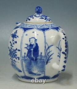 @ NEAR PERFECT @ Antique 19th C Chinese porcelain blue & white export teapot