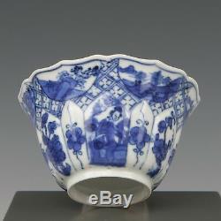 Nice fine Chinese B&W porcelain moulded tea bowl, Kangxi, ca. 1700