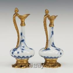 Nice pair of Chinese B&W porcelain vases 18th ct, Kangxi period, mounted as jugs