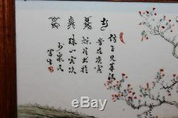 Old Antique Chinese Porcelain Tile of Wisemen Viewing a Scroll Painting