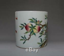 Old Chinese Famille Rose Porcelain Brush Pot Qianlong Marked With Peach (534)