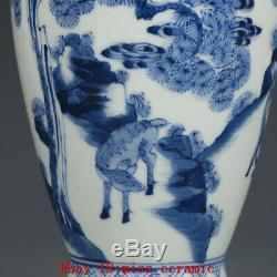 Old Chinese Kangxi marked blue and white Porcelain painting Pine deer vase 10