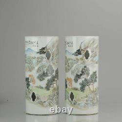 PAIR 19-20C Porcelain Hat Stand Vase Chinese Porcelain Landscape Qianjiang