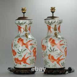 PAIR Chinese porcelain Vases PROC Lamp Goldfish Interior Foo Lion