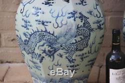 PAIR huge 25.5 old chinese porcelain ceramic Blue white dragon celadon vases