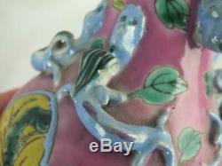 Pair 19th C Chinese Porcelain Nyonya Straits Peranakan Pink Ground Phoenix Vases