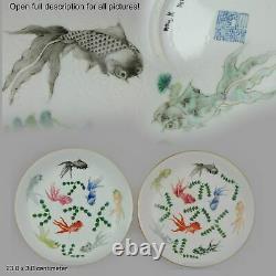 Pair Antique 19/20C Chinese Porcelain plates Goldfishes Qianlong Marked