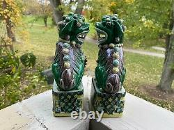 Pair Antique Chinese Famille Verte Porcelain Foo Dogs Lions 19th Century