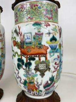 Pair Antique Qing Chinese Export Chinoiserie Famille Verte Porcelain Vase Lamps