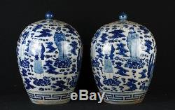 Pair Chinese Blue and White Nanking Porcelain Urns Vases China Pottery