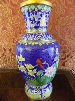 Pair Of 12 5 Band Collector Quality Chinese Cloisonne Vases Porcelain Japanese