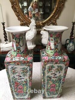 Pair Of 1930s Chinese Export Rose Medallion Porcelain Vases