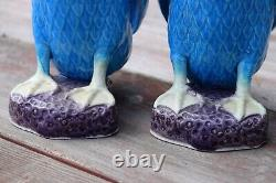 Pair Of Chinese Antique Export Turquoise Blue Porcelain Figural Ducks 10 inches