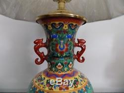 Pair Of Chinese Porcelain Vase Lamps Japanese / Cloisonne Shades Not Included