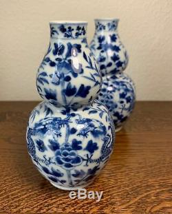 Pair Qing Chinese Blue & White Kangxi Style Dragon Porcelain Double Gourd Vases
