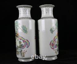Pair of Antique Chinese Porcelain 13 Vases Famille Rose Bird Floral Peony