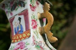 Pair of Antique Chinese Porcelain Hand Painted Famillie Rose Square Shaped Vase