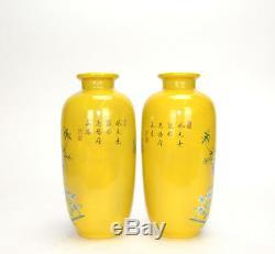 Pair of Yellow Glazed Ground Chinese Famille Rose Enamel Porcelain Vase