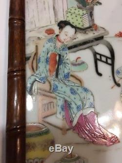 Qing Chinese famille rose porcelain plaque Wood Frame 19thC Lady & Boys CHINA mk