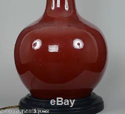 Qing Dynasty Chinese Porcelain Chinese Langyao Peach Glazed Vase Lamp