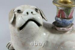 Qing Dynasty Famille Rose Porcelain Dog Incense Stick Holder / Candlestick