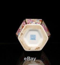 Qing Qianlong China Enamel Hexagonal Vase Porcelain Chinese Antique Reproduction