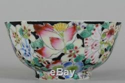 Qing / Republic Chinese Porcelain Mille fleur Bowl Famille Noire 1891-1921