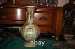 Quality Chinese Porcelain Vase Marked Handles Painted Flowers Design Pattern