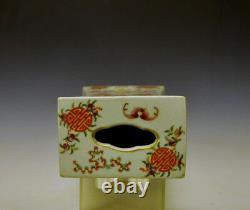 Rare 19th c. Chinese Qing Famille Rose Bat Flower Porcelain Head Rest Pillow