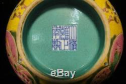 Rare Antique Chinese Yellow Glaze Famille Rose Porcelain Bowl Yongzheng