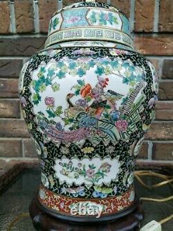 Rare Antique Famille Noir Chinese Porcelain Vase Lamp