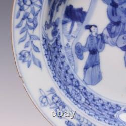 Rare fine Chinese B&W porcelain plate, figures, Yongzheng period, 18th ct