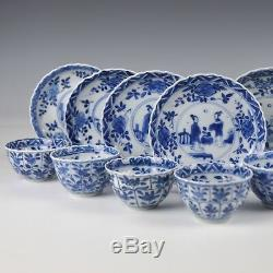 Six Blue And White Chinese 18th Century Kangxi Porcelain Cups And Saucers