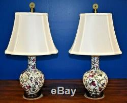 Small Pair Of 22 Chinese Porcelain Vase Lamps-asian-oriental-cloisonne Style