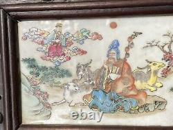 Superb Antique Chinese Famille Rose Porcelain Plaques Inlaid Screen Xianfeng Era