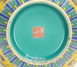 Superb Chinese Enamel Famille Rose Floral Yellow Ground Porcelain Vase