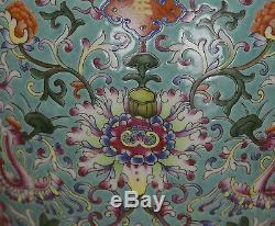 Superb Chinese Enamel Floral Turquoise Ground Porcelain Vase