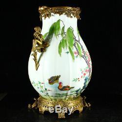 Superb Chinese Gilt Gold Famille Rose Double Ears Porcelain Vase