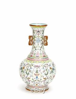 Superb Old Chinese Cream Glazed Ground Famille Rose Floral Porcelain Vase