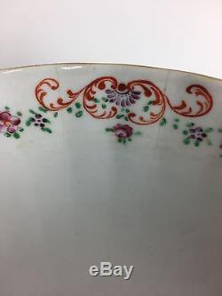 Superb Qianlong 18th Century Large CHINESE Porcelain FAMILLE ROSE MANDARIN Bowl
