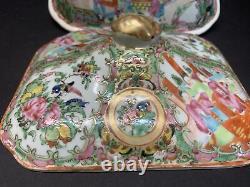 VTG 19th C. Chinese Export Porcelain Rose Medallion Covered Serving Dish & Bowl