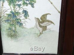 Very Fine 19th C. Chinese Famille Rose Porcelain Plaque, Quail, Flowers