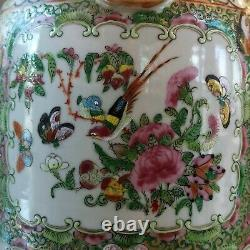 Vintage 20th original China Handmade Chinese Canton porcelain Pair vases 46 cm