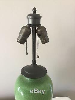 Vintage Asian Oriental Chinese Crackled Glazed Jade Green Vase Porcelain Lamp