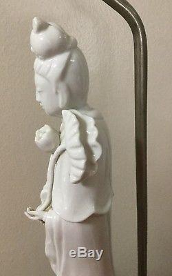 Vintage Blanc de Chine Chinese KWAN YIN Lamp GuanYin Ceramic 16 Porcelain Light