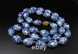 Vintage Chinese Blue & White Porcelain Oriental Bead Necklace Auspicious Symbols