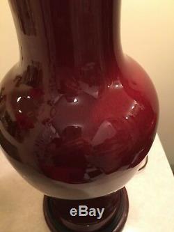 Vintage Chinese Oxblood Sang de Boeuf Ginger Jar Lamp Porcelain