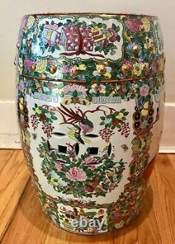 Vintage Chinese Porcelain Famille Rose Medallion Garden Stool / Side Table