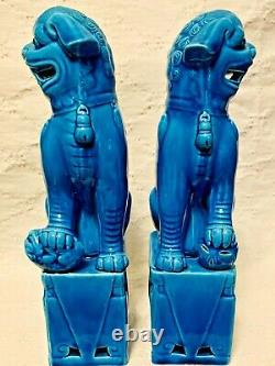 Vintage Chinese Porcelain Turquoise Foo Dog Figurines a Pair chinoiserie chic